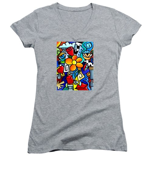 Biomechanical Love Women's V-Neck T-Shirt (Junior Cut) by Tom Fedro - Fidostudio