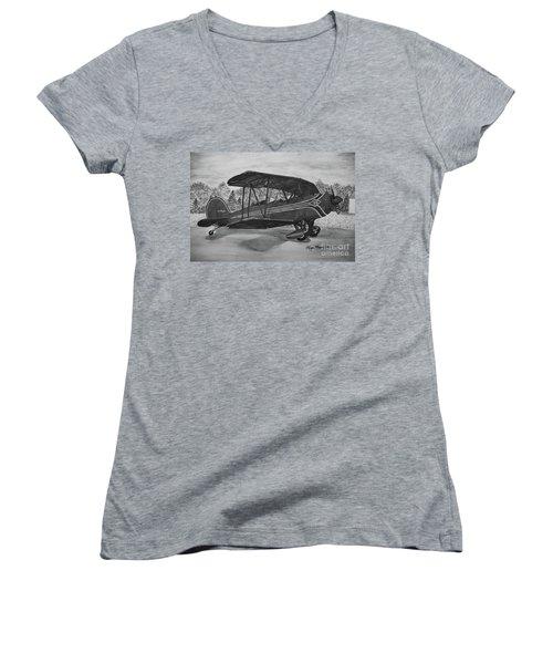 Biplane In Black And White Women's V-Neck T-Shirt (Junior Cut) by Megan Cohen
