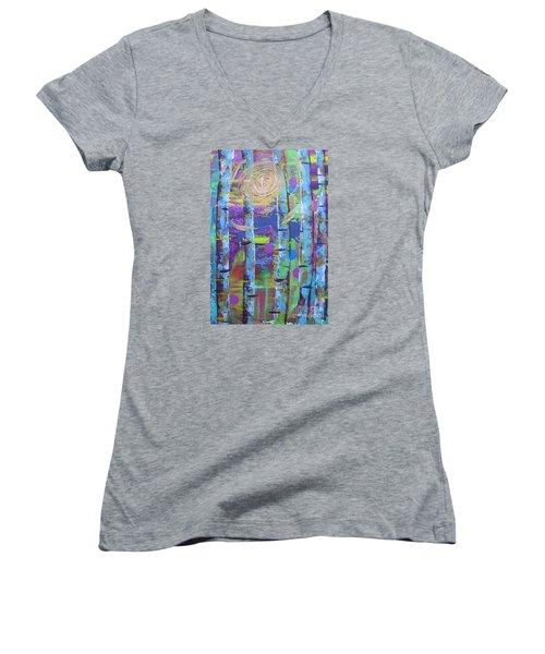 Birch 6 Women's V-Neck T-Shirt (Junior Cut) by Jacqueline Athmann
