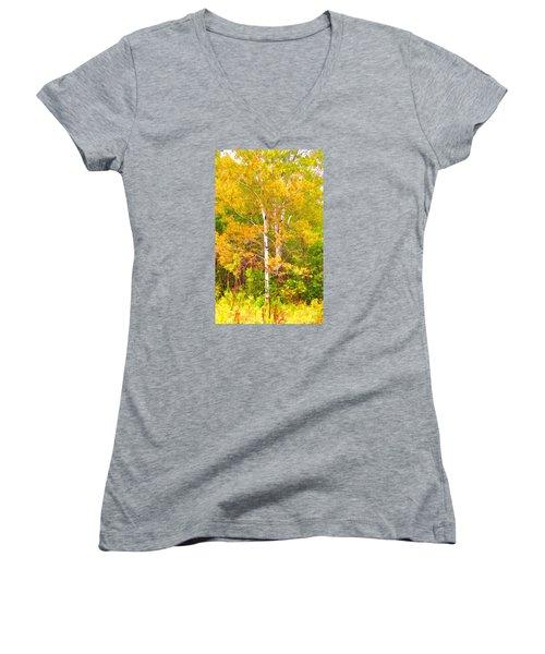 Birch Afire  Women's V-Neck T-Shirt (Junior Cut) by Susan Crossman Buscho