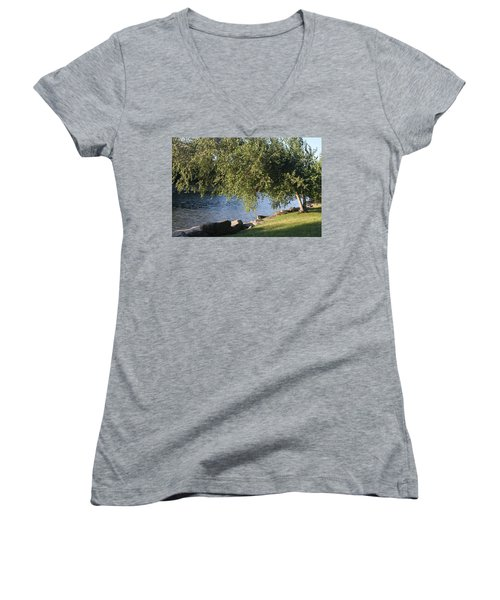 Women's V-Neck T-Shirt featuring the photograph Birch And Lake by Vadim Levin