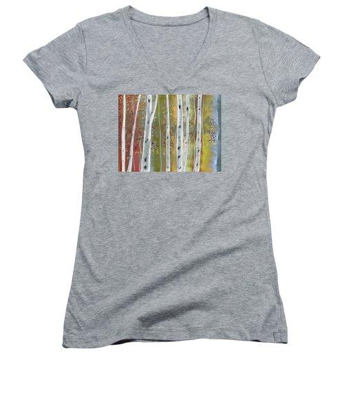 Birch Forest Women's V-Neck T-Shirt (Junior Cut) by Paula Brown
