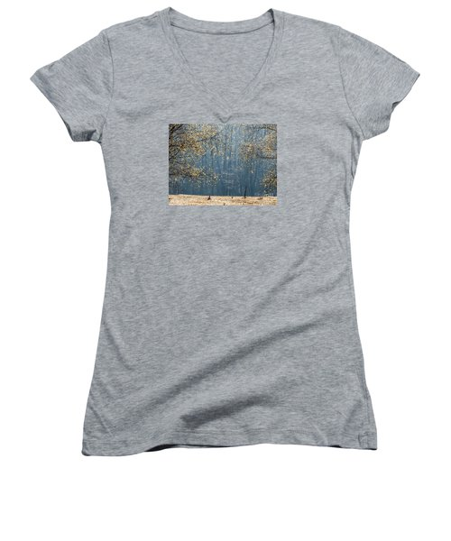Birch Forest To The Morning Sun Women's V-Neck T-Shirt (Junior Cut) by Odon Czintos