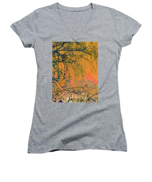 Birch Tree And Orange Sky - Winter Women's V-Neck T-Shirt (Junior Cut) by Brooks Garten Hauschild