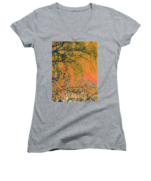 Birch Tree And Orange Sky - Winter Women's V-Neck (Athletic Fit)