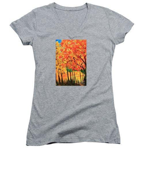 Women's V-Neck T-Shirt (Junior Cut) featuring the painting Birch Tree /autumn Leaves by Nancy Czejkowski