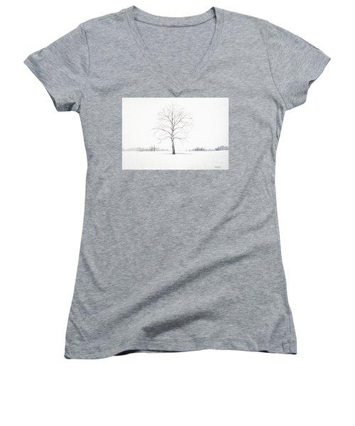 Birch Tree Upon The Winter Plain Women's V-Neck