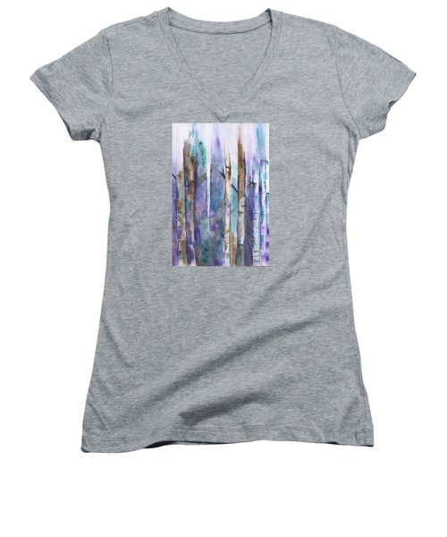 Birch Trees Abstract Women's V-Neck T-Shirt (Junior Cut) by Frank Bright