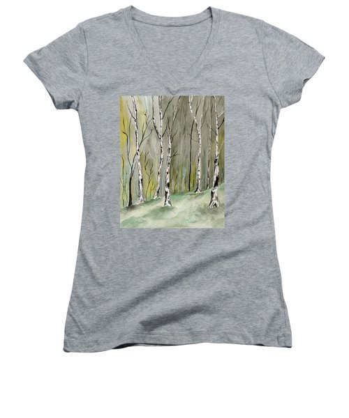 Birches Before Spring Women's V-Neck (Athletic Fit)
