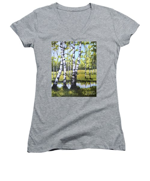 Birches In Spring Mood Women's V-Neck T-Shirt (Junior Cut) by Inese Poga