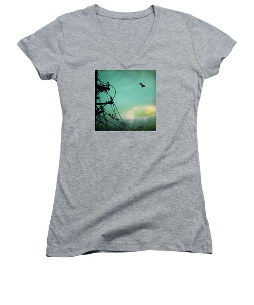 Women's V-Neck T-Shirt (Junior Cut) featuring the photograph Bird City Revisited by Trish Mistric