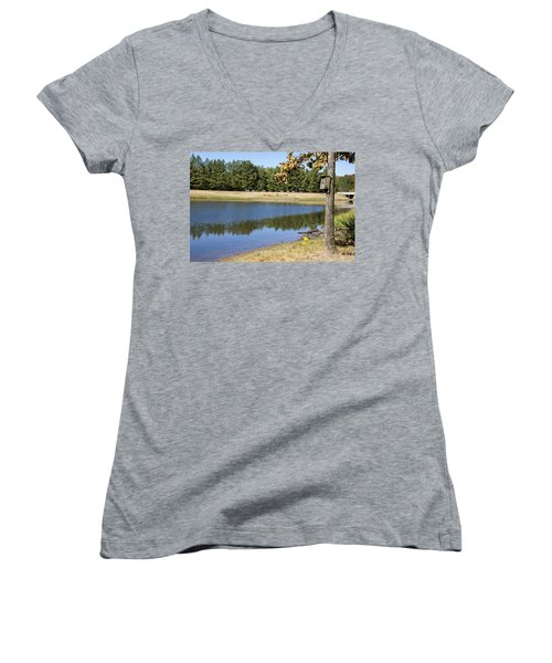 Bird House Lake Women's V-Neck T-Shirt (Junior Cut) by Ricky Dean