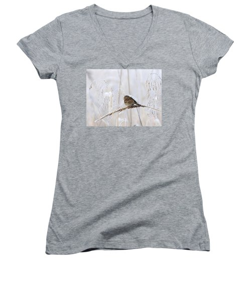 Bird In First Frost Women's V-Neck
