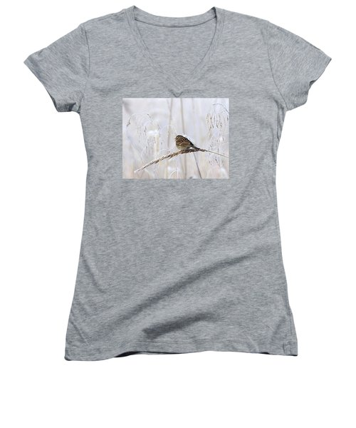 Bird In First Frost Women's V-Neck (Athletic Fit)