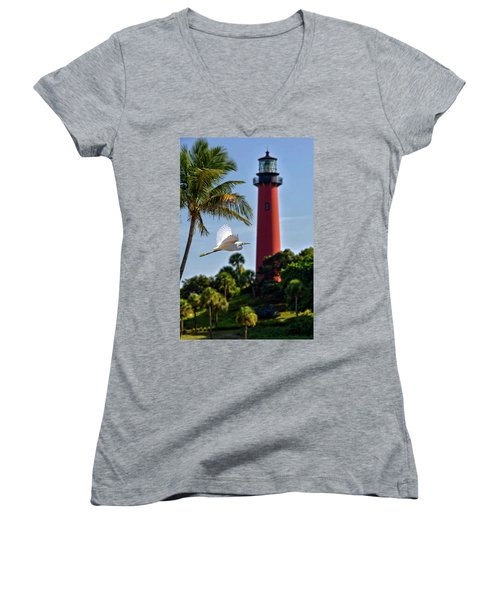 Bird In Flight Under Jupiter Lighthouse, Florida Women's V-Neck