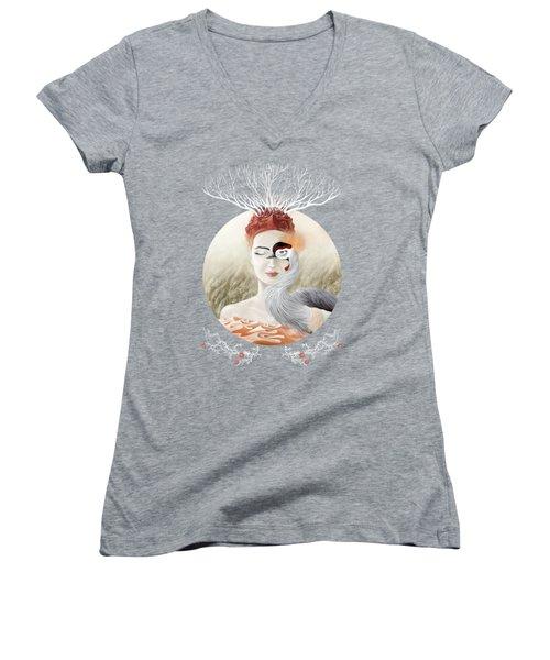 Bird Of Cranes Women's V-Neck T-Shirt (Junior Cut) by Ruta Dumalakaite