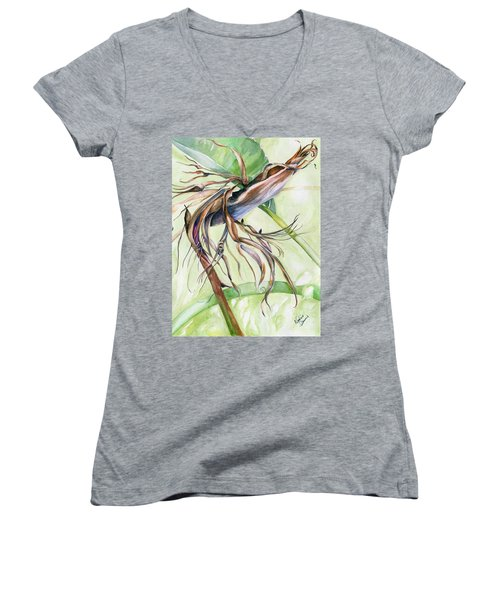 Women's V-Neck T-Shirt (Junior Cut) featuring the painting Bird Of Paradise, A Faded Beauty by Nadine Dennis