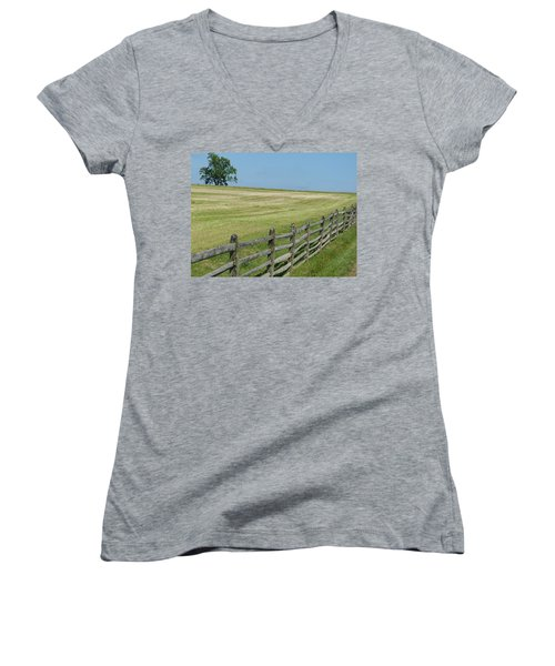 Women's V-Neck T-Shirt (Junior Cut) featuring the photograph Bird On A Fence by Donald C Morgan