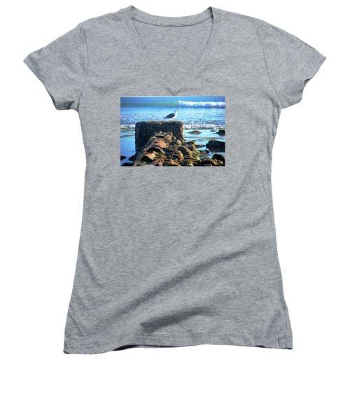 Bird On Perch At Beach Women's V-Neck T-Shirt (Junior Cut) by Matt Harang