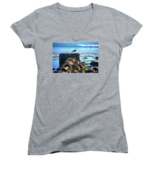 Bird On Perch At Beach Women's V-Neck (Athletic Fit)