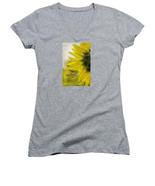 Women's V-Neck T-Shirt (Junior Cut) featuring the photograph Bird On Sunflower by Betty Denise