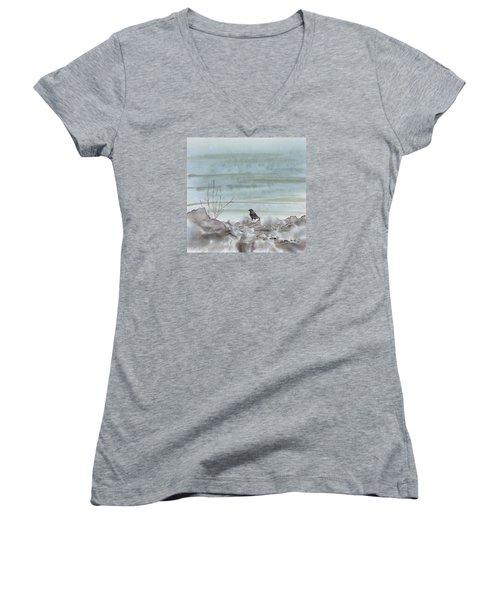 Bird On The Shore Women's V-Neck T-Shirt (Junior Cut) by Carolyn Doe