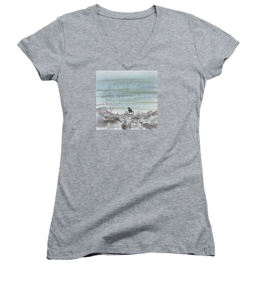 Bird On The Shore Women's V-Neck (Athletic Fit)