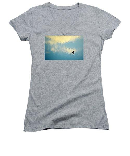 Bird Reflection Women's V-Neck T-Shirt (Junior Cut) by AJ Schibig