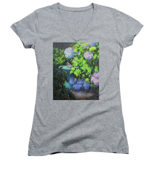 Women's V-Neck T-Shirt (Junior Cut) featuring the painting Birdbath And Blossoms by Karen Ilari