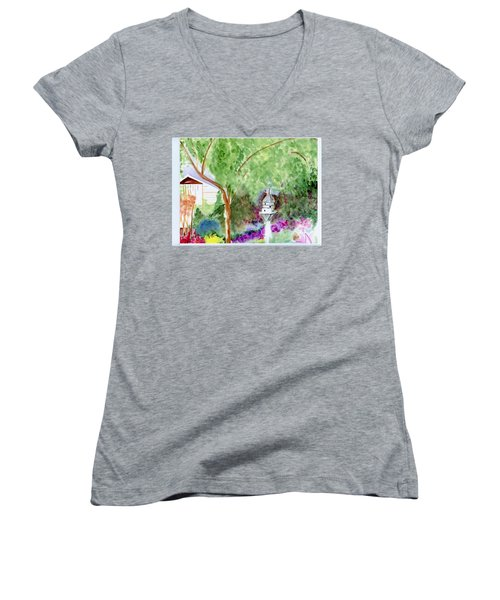 Women's V-Neck T-Shirt (Junior Cut) featuring the painting Birdhouse by Jamie Frier