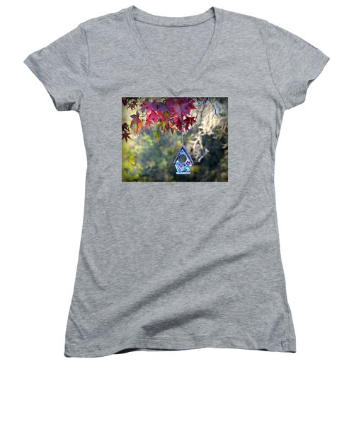 Women's V-Neck T-Shirt featuring the photograph Birdhouse Under The Autumn Leaves by AJ Schibig
