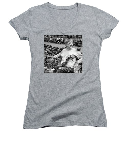 Women's V-Neck featuring the photograph Birdman Of Wsp by Eric Lake