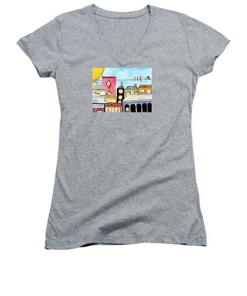 Birds And Mouse On A Wire Women's V-Neck T-Shirt (Junior Cut) by Lou Belcher