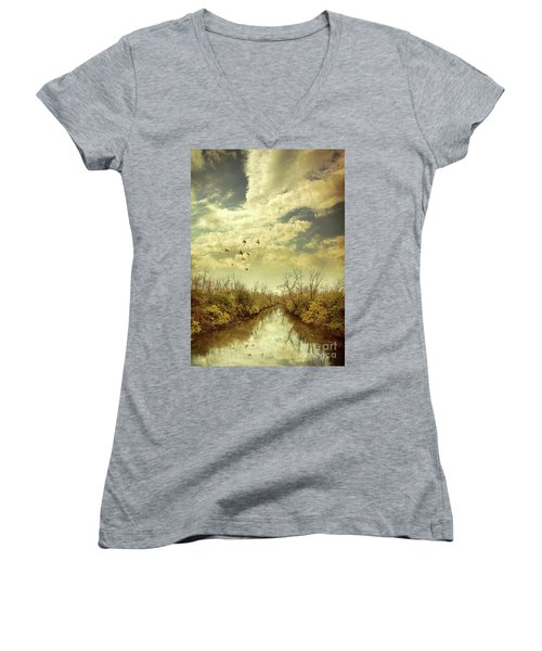 Birds Flying Over A River Women's V-Neck T-Shirt (Junior Cut) by Jill Battaglia