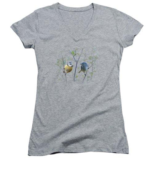 Birds In Tree Women's V-Neck T-Shirt (Junior Cut) by Ivana