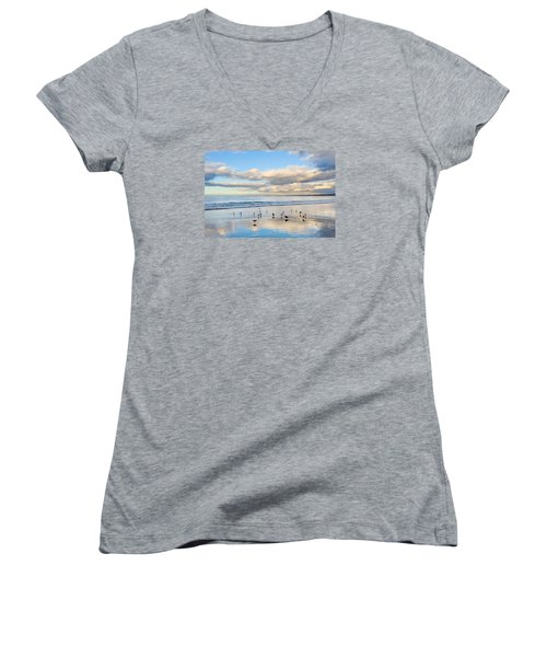 Birds On The Beach Women's V-Neck (Athletic Fit)