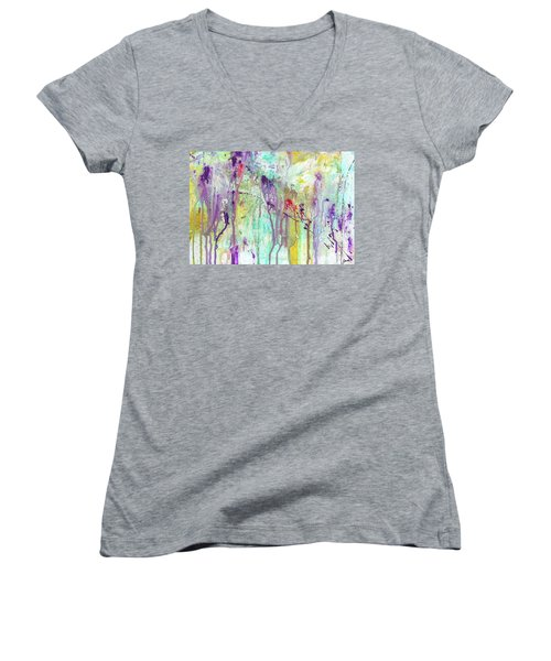 Birds On The Wire - Colorful Bright Modern Abstract Art Painting Women's V-Neck