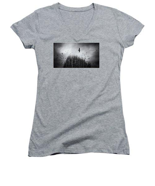 Birds Over Bush Women's V-Neck T-Shirt