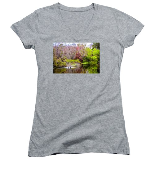 Women's V-Neck T-Shirt (Junior Cut) featuring the photograph Birds Playing In The Pond 3 by Madeline Ellis