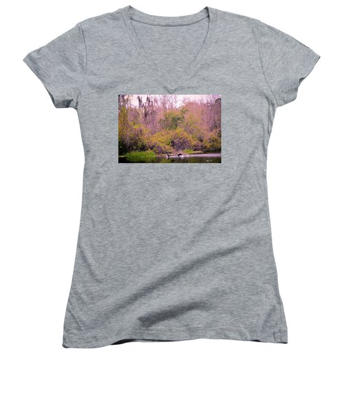 Women's V-Neck T-Shirt (Junior Cut) featuring the photograph Birds Playing In The Pond 1 by Madeline Ellis