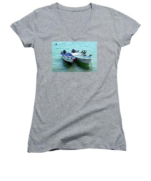 Birds Sunbathing  Women's V-Neck T-Shirt (Junior Cut) by Haleh Mahbod