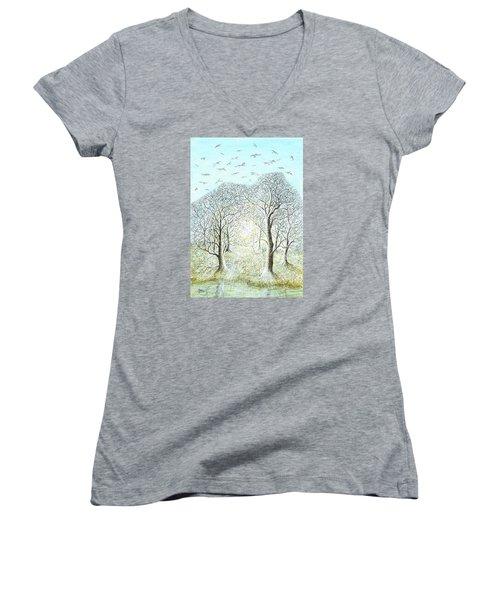 Birds Swirl Women's V-Neck T-Shirt (Junior Cut) by Charles Cater