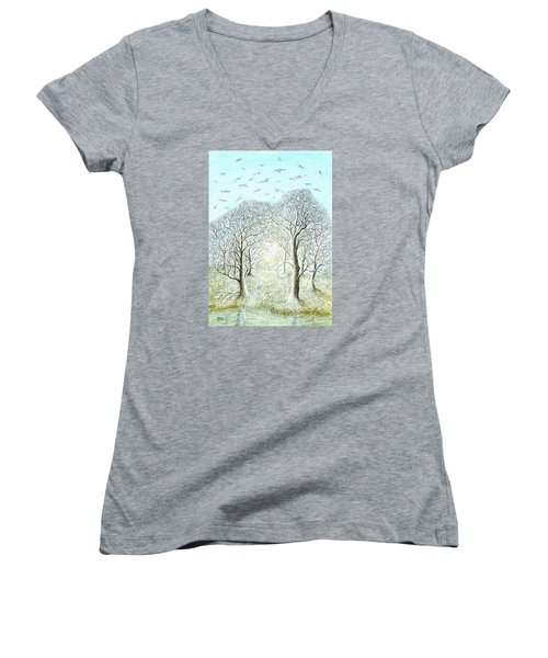 Birds Swirl Women's V-Neck T-Shirt