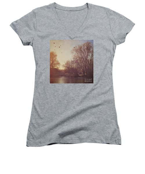 Women's V-Neck T-Shirt (Junior Cut) featuring the photograph Birds Take Flight Over Lake On A Winters Morning by Lyn Randle