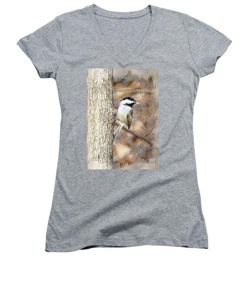 Women's V-Neck T-Shirt (Junior Cut) featuring the photograph Bird@seed by Robert Pearson