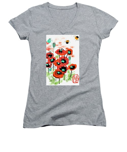 Birthday Field Of Flowers  Women's V-Neck (Athletic Fit)