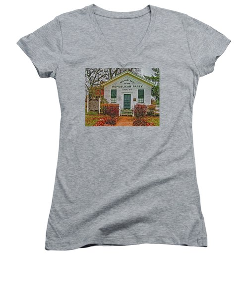 Women's V-Neck T-Shirt (Junior Cut) featuring the photograph Birthplace Republican Party by Trey Foerster