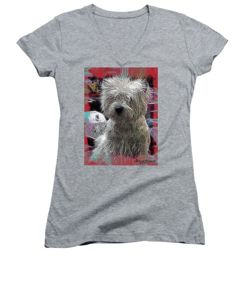 Bishon Frise Women's V-Neck T-Shirt (Junior Cut) by EricaMaxine  Price