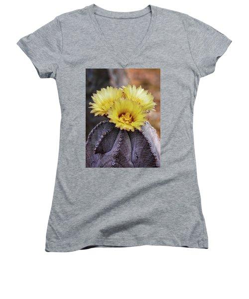 Women's V-Neck T-Shirt (Junior Cut) featuring the photograph Bishop's Cap Cactus  by Saija Lehtonen