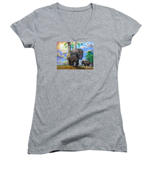 Bison Acrylic Painting Women's V-Neck